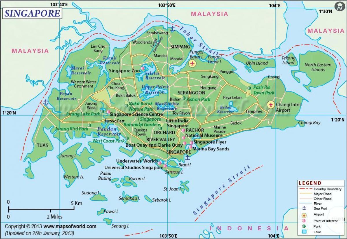 Singapour sur une carte de Singapour dans la carte ...
